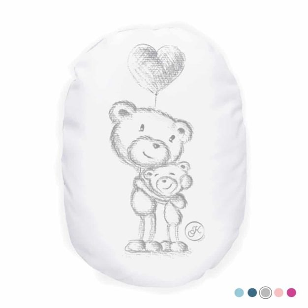 Coussin bébé L'Ours Kiwi et sa maman - Marque française d'ours en peluche et vêtements bébé - Une collection de cadeau de naissance unique - L'Ours Kiwi