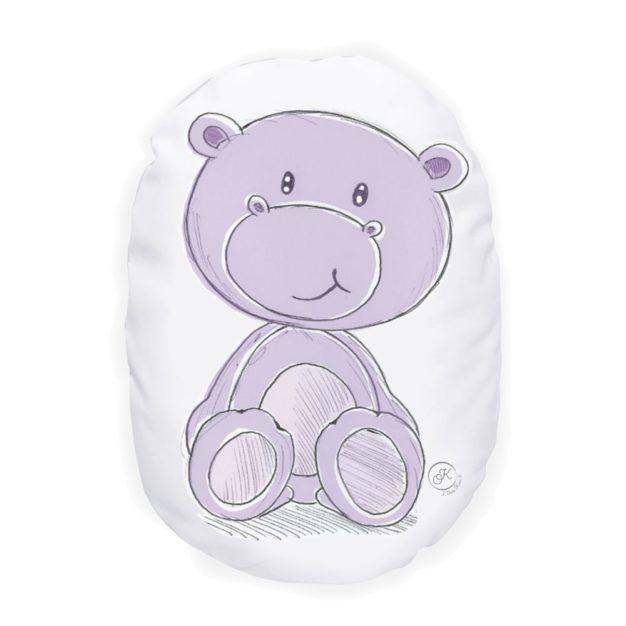 coussin enfant Cassis le petit hippo - Marque française d'ours en peluche et vêtements bébé - Une collection de cadeau de naissance unique - L'Ours Kiwi