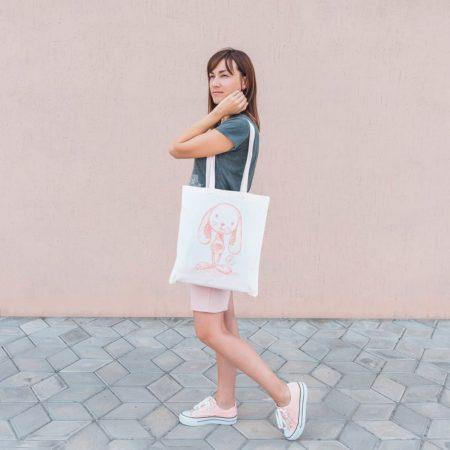 Tote Bag Mandarine le lapin - Marque française d'ours en peluche et vêtements bébé - Une collection de cadeau de naissance unique - L'Ours Kiwi