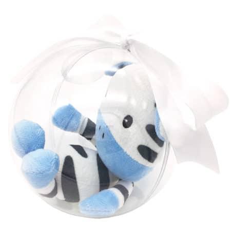 Peluche zèbre dans bulle de naissance - Marque française d'ours en peluche et vêtements bébé - Une collection de cadeau de naissance unique - L'Ours Kiwi